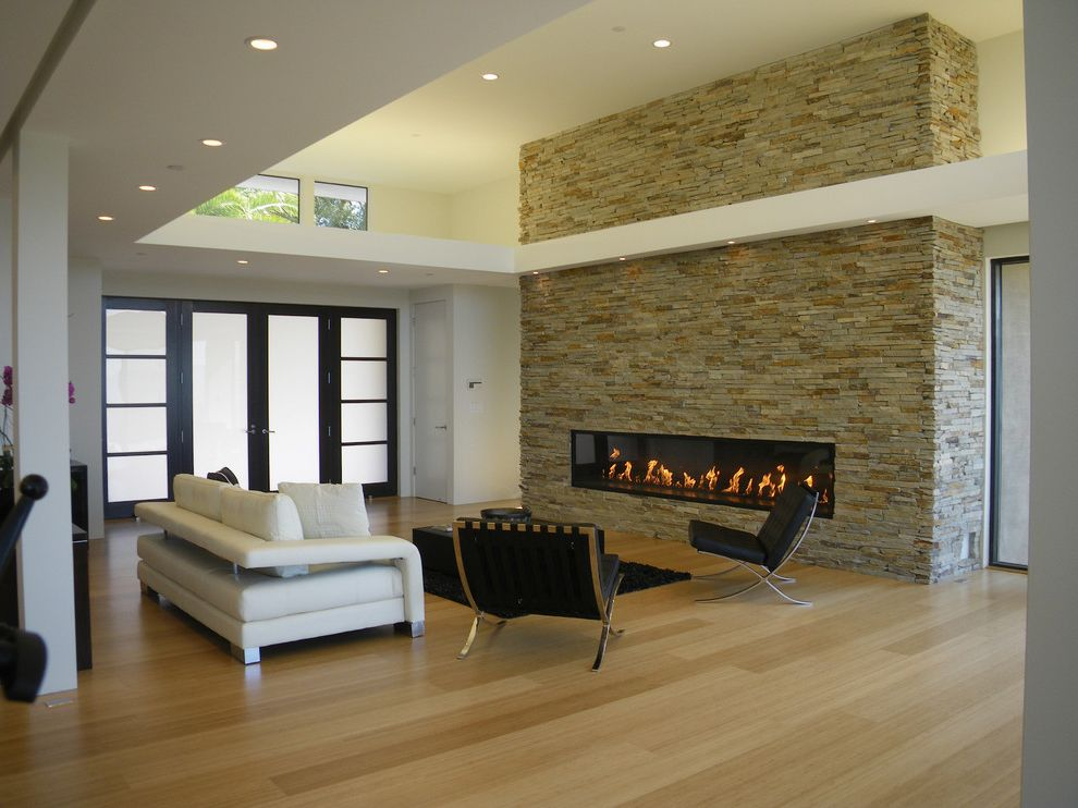 Missoula Electric Coop   Modern Living Room Also Barcelona Chair Can Lights Fireplace Hardwood Floors Living Room Modern Fireplace Shoji Screen Stone Wall
