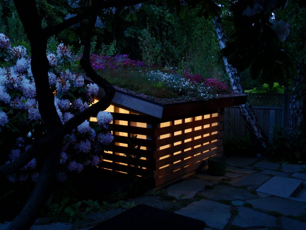 Missoula Electric Coop   Modern Shed Also Bench Cottage Planted Roof Shed Stone