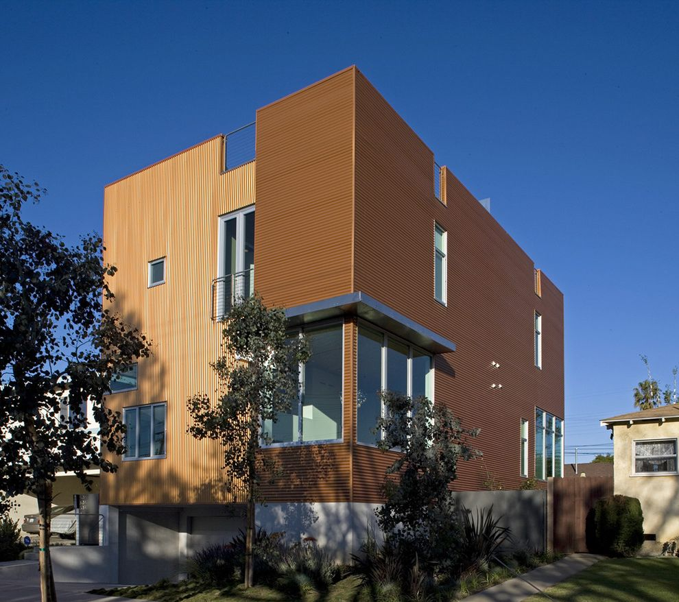Misty Shadow Siding with Contemporary Exterior  and Balcony Clean Contemporary Corrugated Cubic Cubist Horizontal Metal Metal Windows Modern Orange Venice Vertical