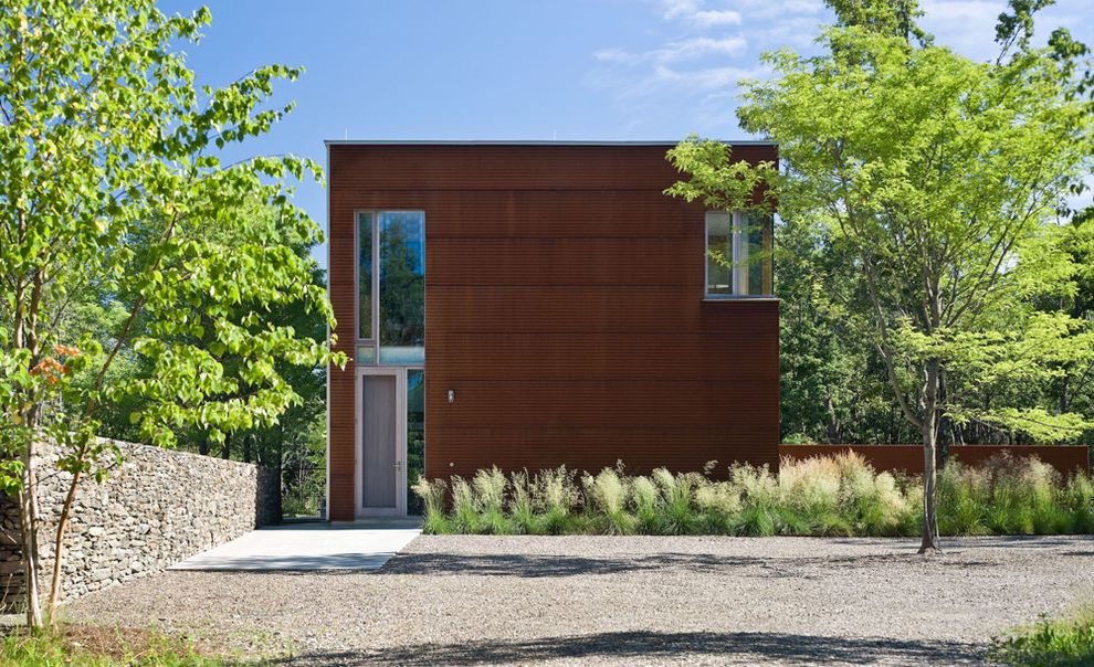 Misty Shadow Siding with Industrial Exterior Also Auto Court Concrete Slab Corner Window Corten Corten Steel Exterior Door Front Door Gravel Modern Stone Wall Modern Wall Ornamental Grass Rectangular Window Steel Exterior Stone Wall