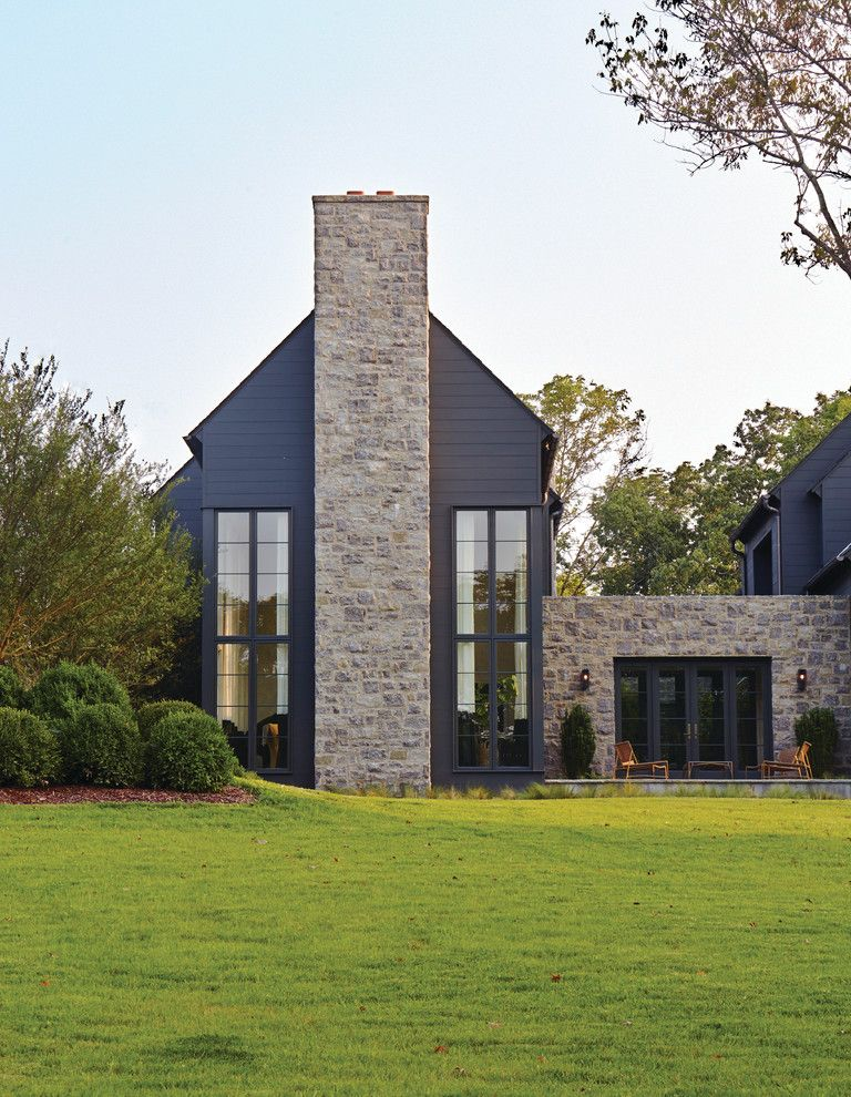 Misty Shadow Siding with Transitional Exterior Also Gray Siding Outdoor Ufrniture Patio Stone Chimney Stone Siding Tall Windows