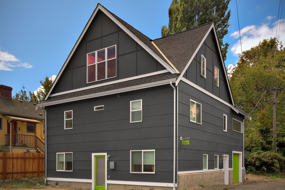 Misty Shadow Siding with Transitional Exterior  and Charcoal Gray Dormer Frosted Glass Gable Roof Lime Green Doors White Trim
