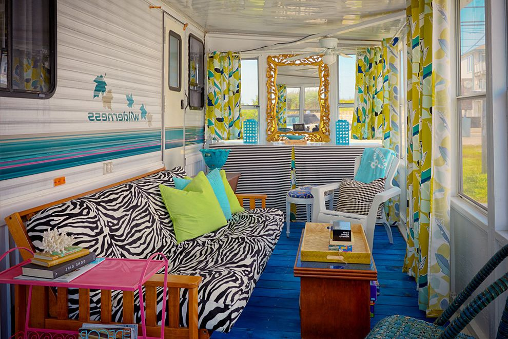 Mobile Home Porch Kits with Eclectic Sunroom and Coffee Table Curtains Futon Mirror Screened Trailer Trailer Renovation Windows