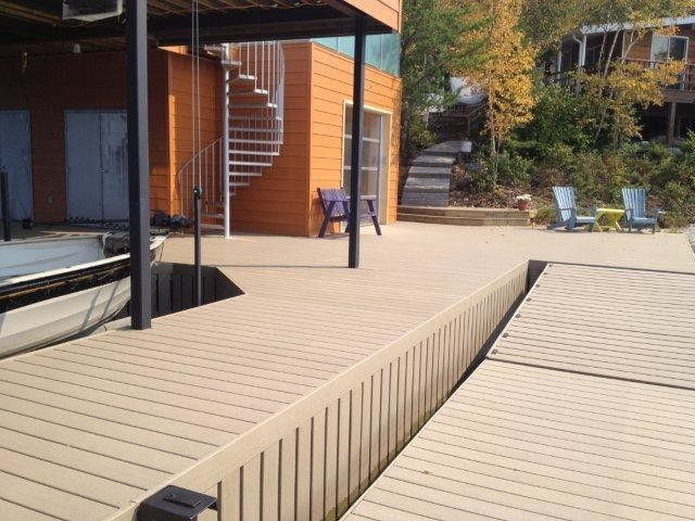 Moisture Shield Decking   Contemporary Spaces  and Decking Dock Earthtone Moistureshield Composite Decking Outdoor Living Pier Railing