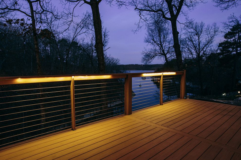 Moisture Shield Decking with Contemporary Deck  and Railing Lighting Wire Railing