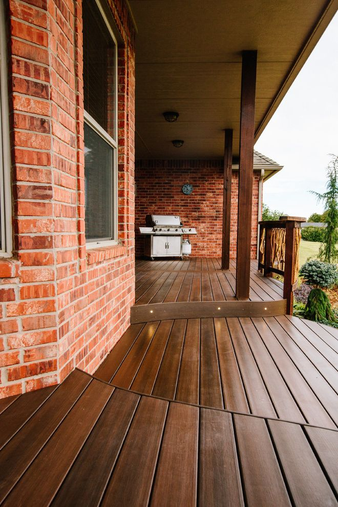 Moisture Shield Decking with Contemporary Porch  and Brick Walls Deck Lighting Outdoor Bbq