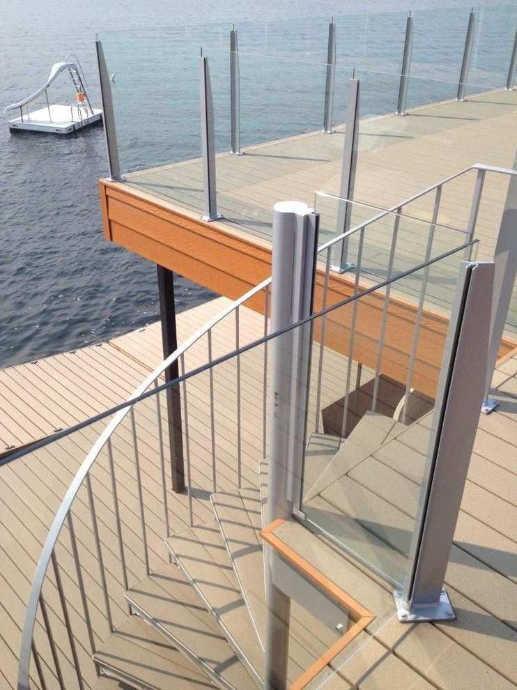 Moisture Shield Decking with Contemporary Spaces  and Decking Dock Earthtone Moistureshield Composite Decking Outdoor Living Pier Railing
