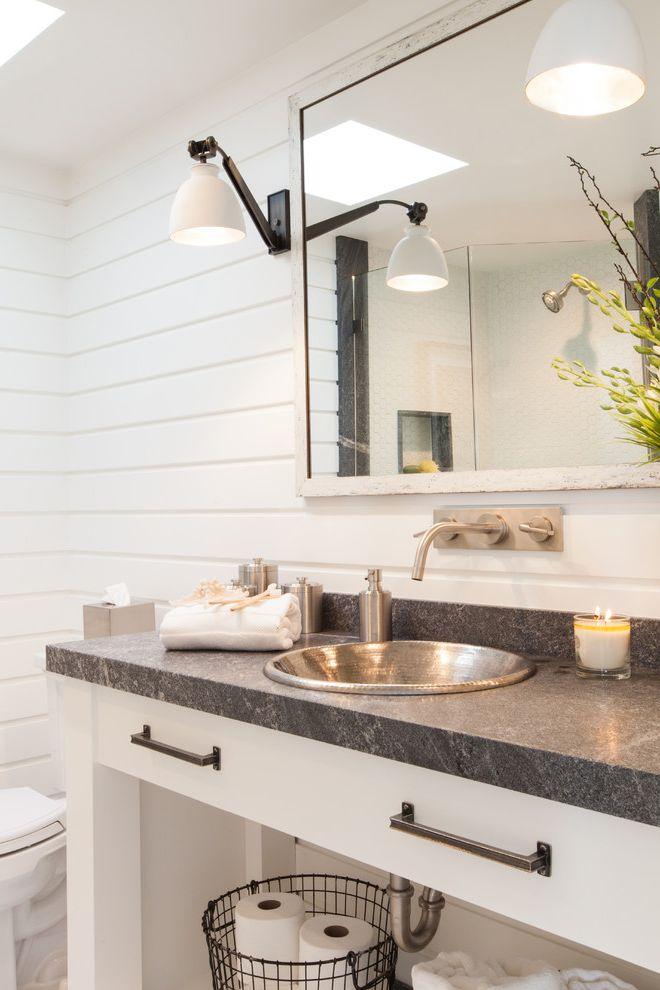 Monarch Specialities   Beach Style Powder Room Also Bathroom Sconce Bathroom Sinks Metal Bathroom Sink Wall Mount Faucet White Bathroom Wood Siding
