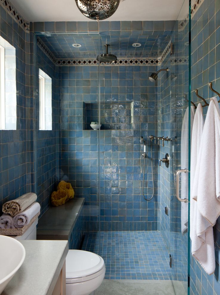 Monarch Specialities   Mediterranean Bathroom Also Light Blue Tile Mediterranean Blue Tile Square Tiles