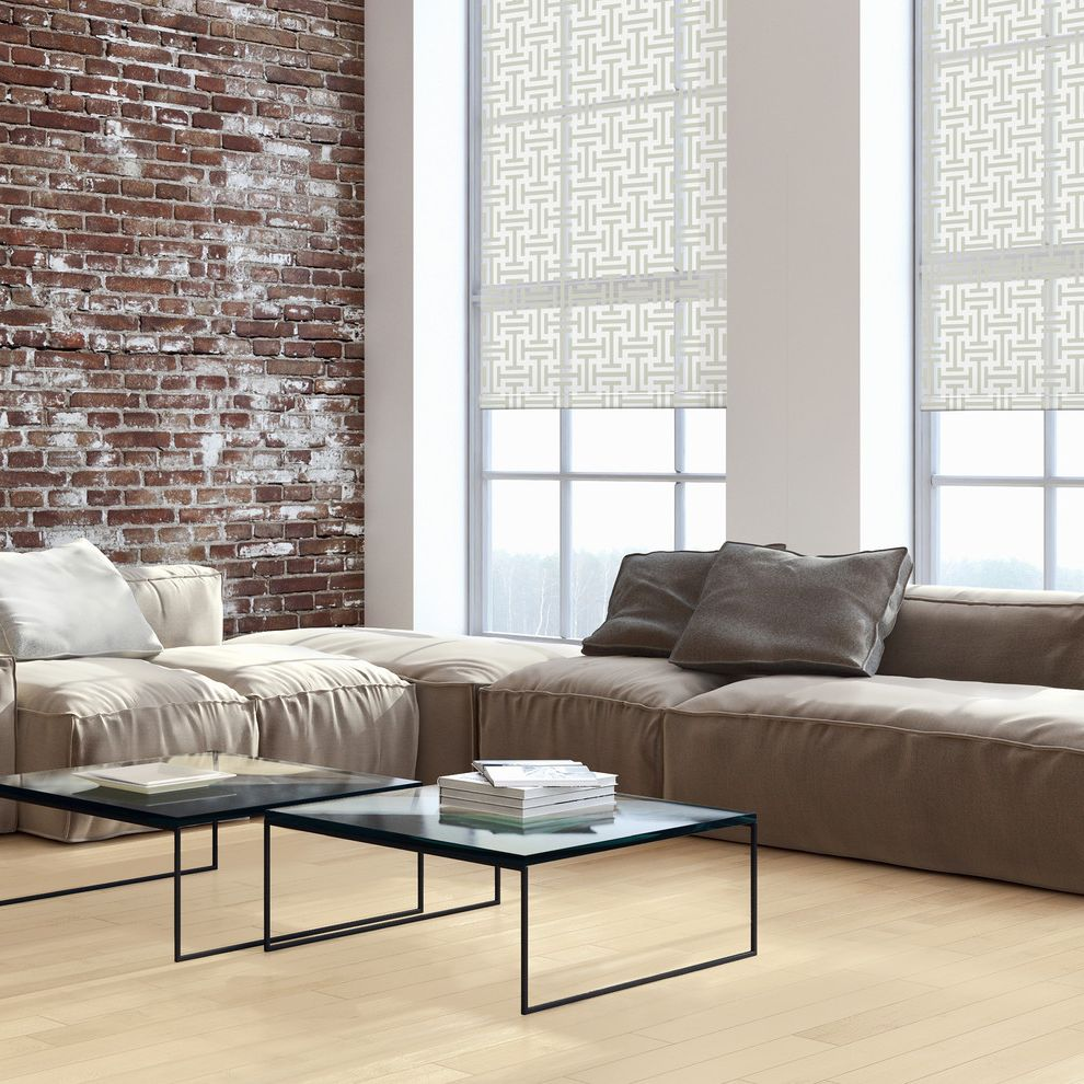 Monogram Area Rug with Contemporary Living Room Also Brick Wll Coffee Tables Exposed Brick Gray Area Rug Inspired Shades Patterned Window Shades Roller Blinds