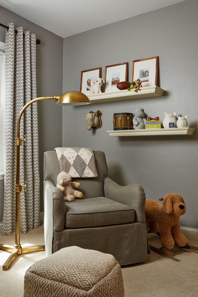 Monte Como Glider   Transitional Nursery  and Chevron Curtains Floating Shelves Framed Artwork Gold Floor Lamp Gray Nursery Glider White and Gray Curtains