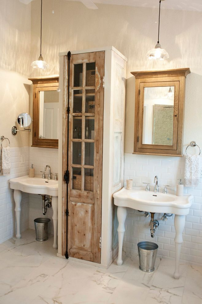 Moon Tower Austin with Shabby Chic Style Bathroom and Console Sink Distressed Wood Glass Pendant Light His and Hers Marble Tiles Pedestal Sinks Pendant Lights Reclaimed Wood Two Sinks Vintage Furniture White Subway Tile Wood Medicine Cabinet