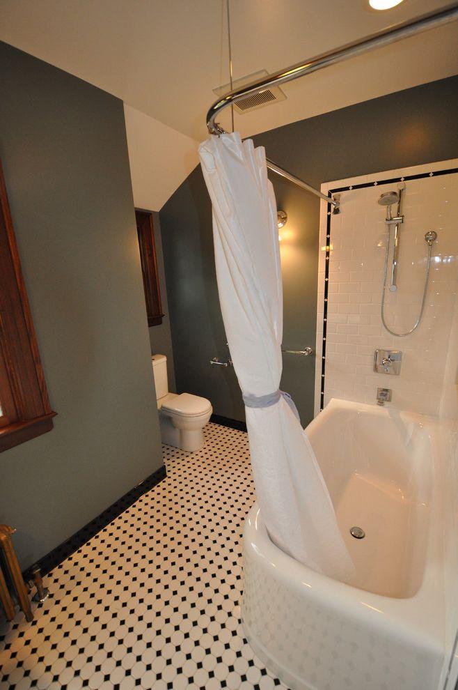 Moore Plumbing Supply   Traditional Bathroom  and Baseboards Black and White Floor Tile Dark Walls Floor Tile Design Green Walls Shoer Curtain Shower Tub Subway Tiles Tile Flooring