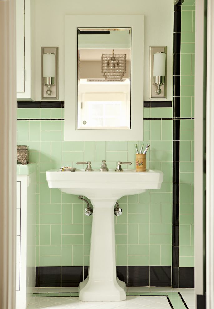 Moore Plumbing Supply with Victorian Bathroom Also Bathroom Lighting Bathroom Storage Bathroom Tile Deco Deco Bath Medicine Cabinet Mint Pedestal Pedestal Sink Sconce Tile Backsplash Tile Floor Wall Lighting