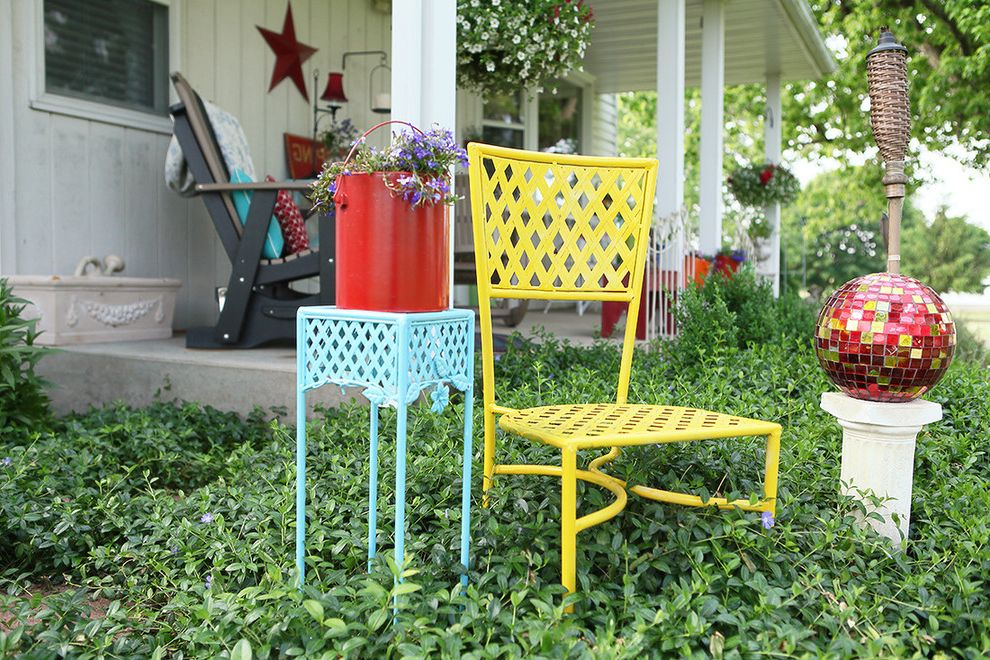 Mor Furniture Sale   Farmhouse Landscape  and Adirondack Chairs Hanging Plant Light Blue Metal Garden Furniture Mosaic Garden Ball Porch Red Vertical Tongue and Groove Siding Vinca White Exterior Yellow