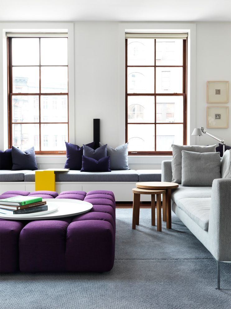 Mor Furniture Tacoma   Contemporary Living Room  and Blue Rug Built in Bench Converted Warehouse Light Gray Couch Loft Apartment Ny Loft Purple Ottoman Purple Wishbone Chair Strong Yellow Tribeca Wishbone Chairs