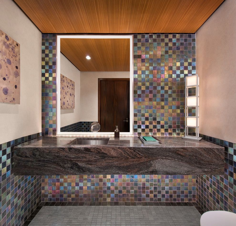 Mosaic at Largo   Contemporary Powder Room  and Floating Vanity Illuminated Mirror Metallic Tile Mosaic Tile Square Sink Stone Counters Tile Floors Wood Ceiling