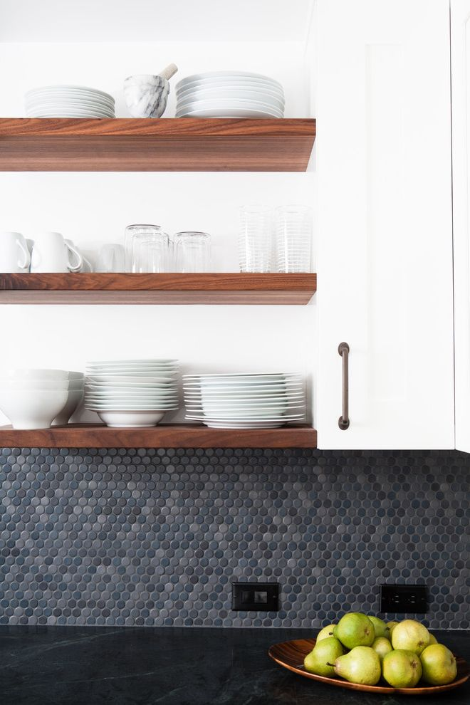 Mosaic at Largo   Modern Kitchen  and Floating Shelves Fruit Bowl Mosaic Tiles Neutral Colors Open Shelves Penny Tiles Tile Kitchen Backsplash Walnut Shelves White Cabinets White Dinnerware Wood Shelves