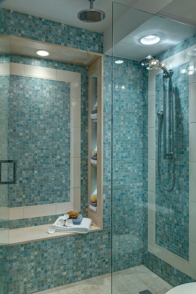 Mosaic at Largo with Beach Style Bathroom  and Blue Glass Tile Bathroom Glass Panel Niche Rain Showerhead Shower Seat Shower Shelves