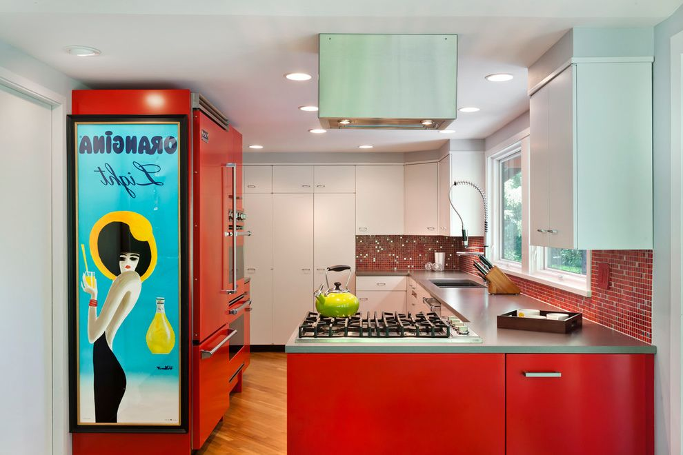 Mosaic at Largo with Contemporary Kitchen  and Bright Red Gray Countertop Orangina Red and Gray Red and White Red Oven Red Refrigerator