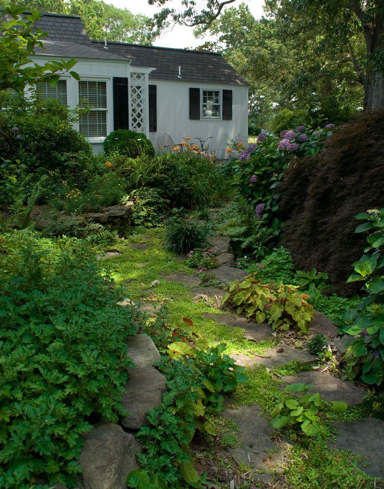 Moss and Associates   Traditional Landscape Also Black Shutters Cottage Groundcover Hydrangea Rock Garden Shade Garden Shingles Trellis White House