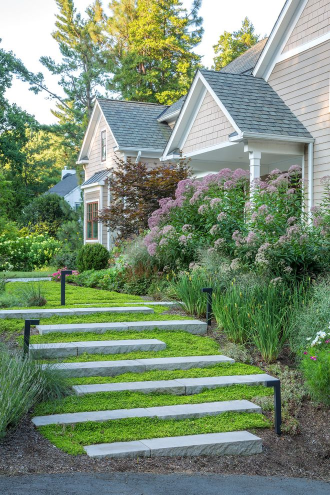 Moss and Associates   Traditional Landscape  and Beige Siding Grasses Moss Outdoor Steps Pathway Lighting Purple Flowers Shingle Roof Shingle Siding Stone Steps