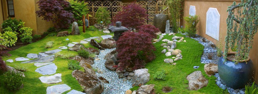 Moss and Associates with Asian Landscape  and Flagstone Garden Garden Wall Japanese Maple Japanese Style Pagoda Pebbles Rock Rock Garden Sculptures Statuary Stone Zen Zen Garden Zen Landscape