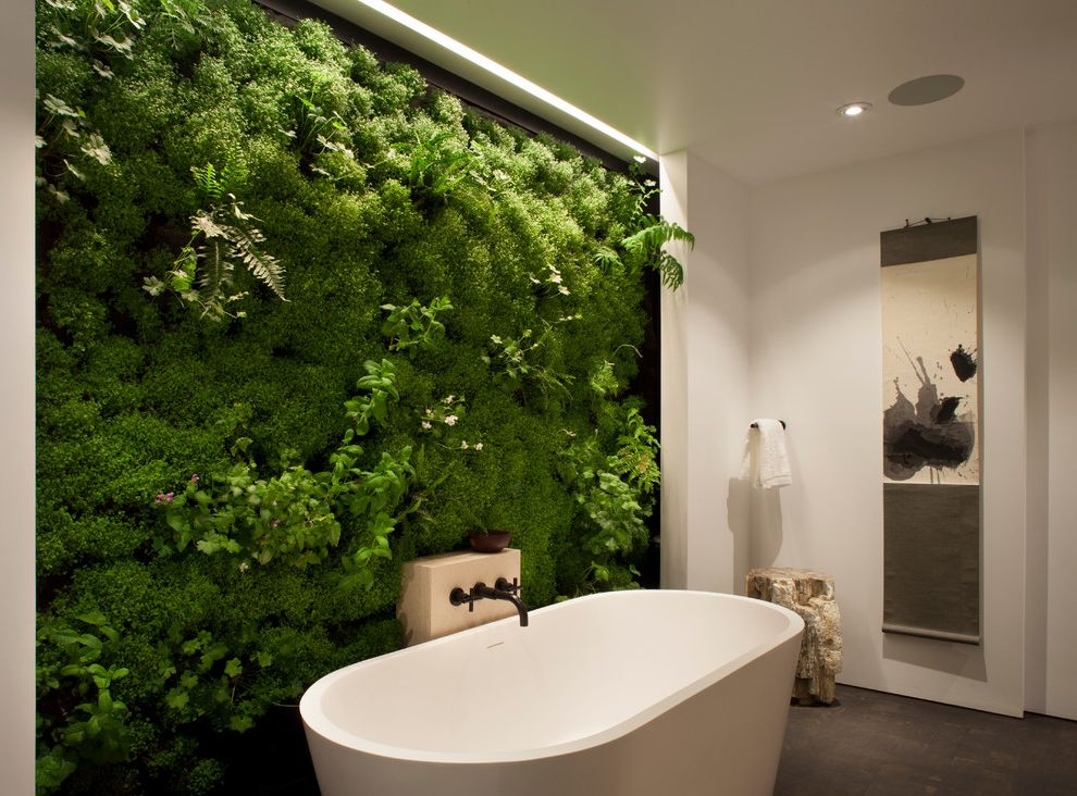 free standing garden tub. Moss And Associates With Contemporary Bathroom Accent Wall Beige  Freestanding Bath Garden Indoor Living Plants