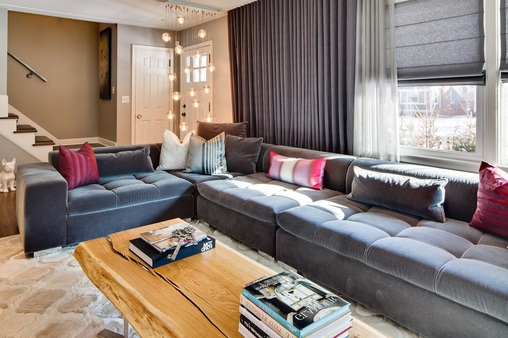 Most Comfortable Sectional Couches   Eclectic Living Room Also Accent Pillows Bubble Lights Coffee Table Accessories Dangling Lights Front Door Gray Curtains Gray Roman Shades Gray Sectional Low Couch Rustic Wood Coffee Table White Trim