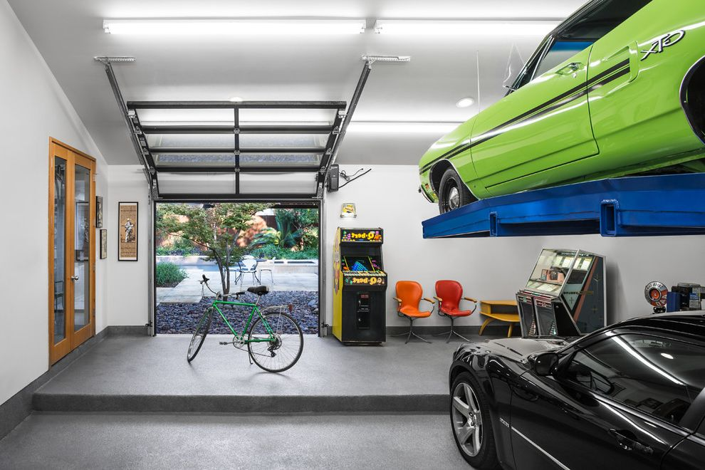 Motorized Garage Storage Lift   Contemporary Garage  and Arcade Games Fluorescent Lights Game Room Glass Garage Door Jukebox