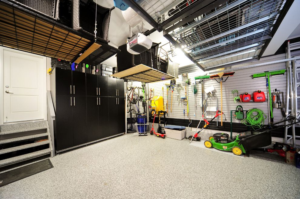 Motorized Garage Storage Lift   Contemporary Garage  and Garage Floors Garage Organization Organization Racks Storage