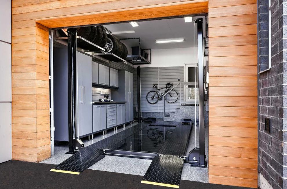 Motorized Garage Storage Lift with Contemporary Garage Also Bike on Wall Cabinets Flooring Stairs Tall Ceilings Tires Tools Under Cabinet Lighting Work Space