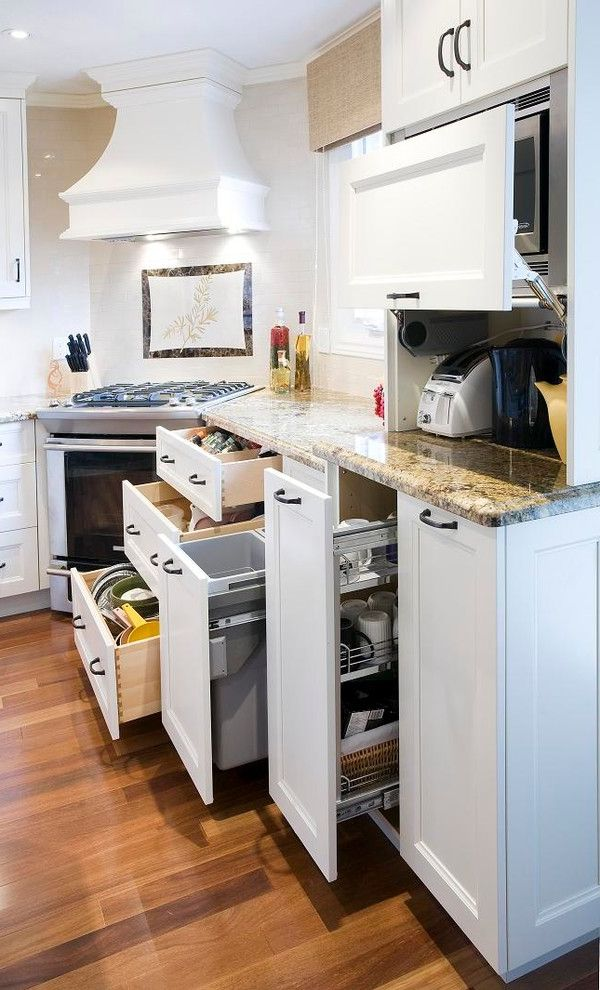 Motorized Garage Storage Lift with Transitional Kitchen Also Appliance Garage Hidden Storage Kitchen Organization Kitchen Storage Wood Floors