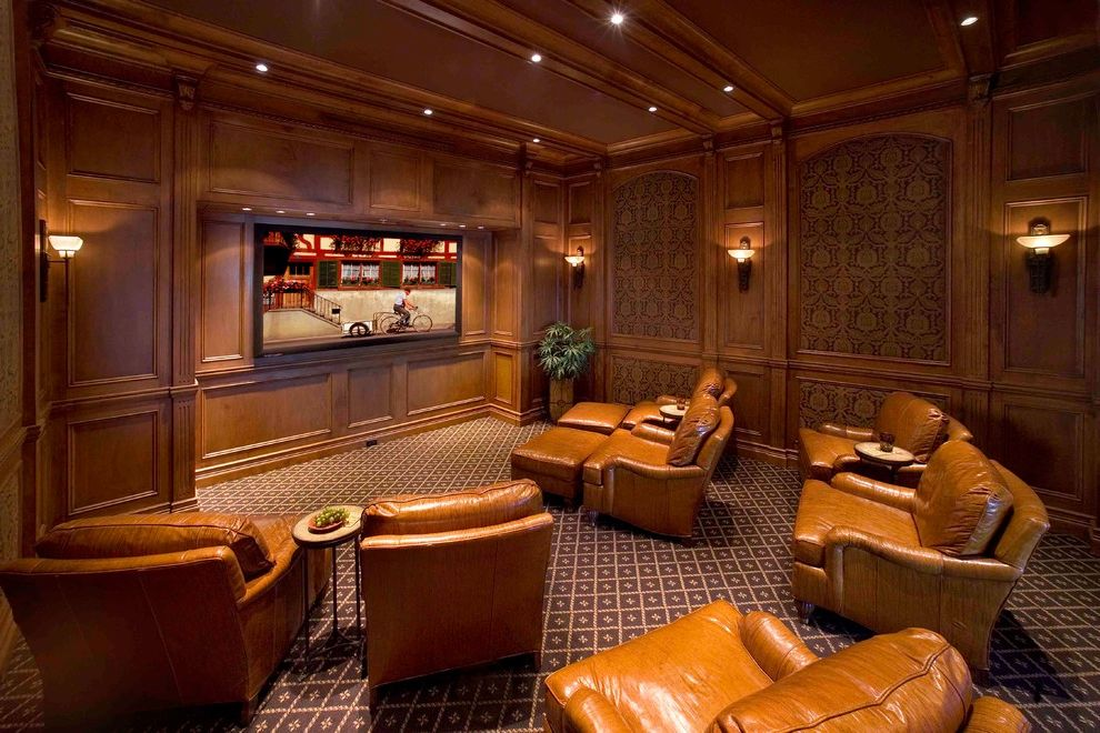 Movie Theaters Naples Fl   Traditional Home Theater Also Decorative Carpet Leather Ottomans Leather Theater Seats Masculine Mounted Wall Recessed Lights Surround Sound Wall Sconces Wood Paneled Walls