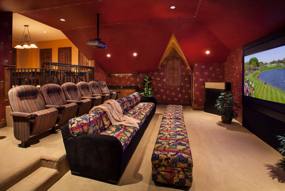 Movie Theaters Naples Fl with Mediterranean Home Theater  and Architectural Elements Beige Carpet Custom in Home Theater Lighting Movie Screen Movie Theater Naples Projector Theater Seating