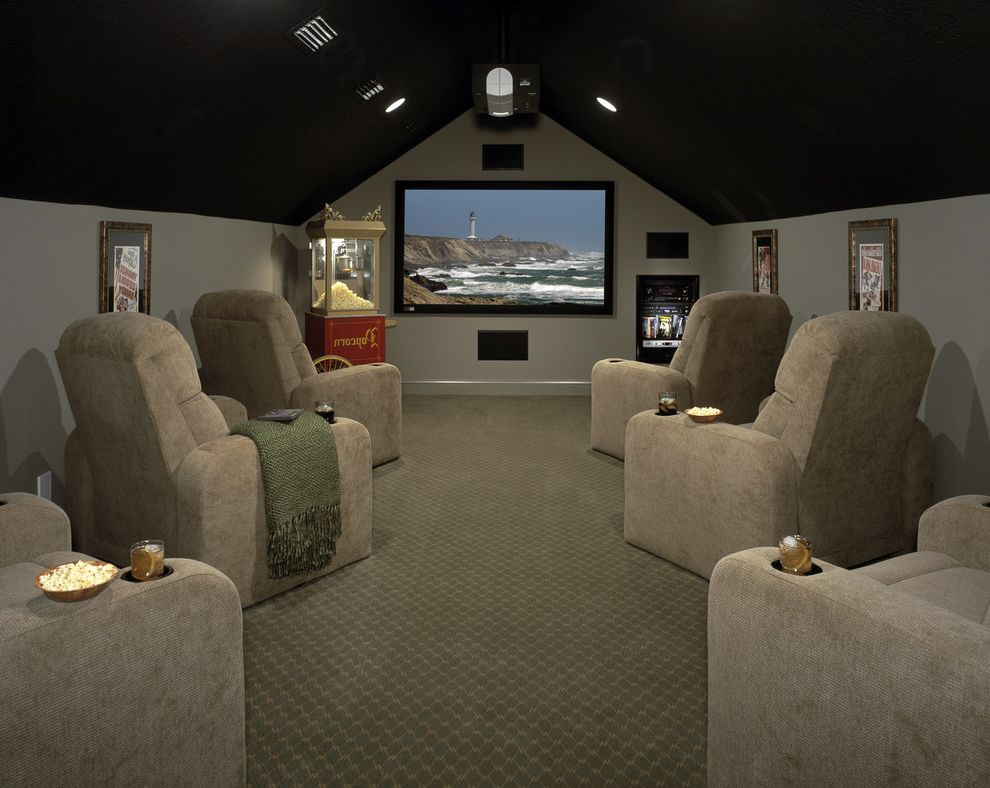 Movie Theaters Naples Fl with Traditional Home Theater  and Black Ceiling Chairs with Cup Holders