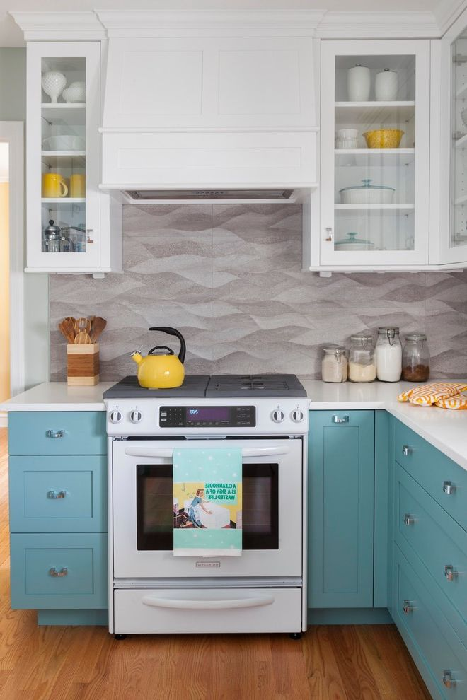 Movies Boca Raton with Beach Style Kitchen Also Colorful Graphic Two Tone Cabinets White Countertop White Upper Cabinets Yellow Accents