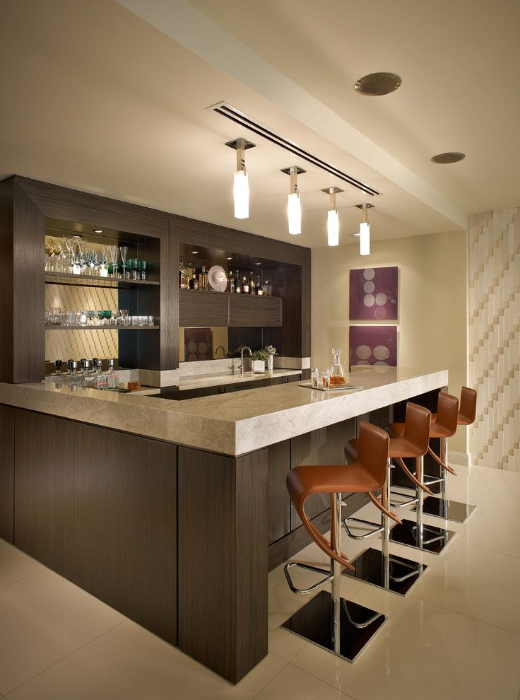 Movies in Boca Raton   Contemporary Home Bar Also Boca Raton Curved Counter Stools Florida Glassware Home Bar L Shape Counter Neutral Pendant Lighting Tile Floor Wall Art Wall Treatment Wet Bar
