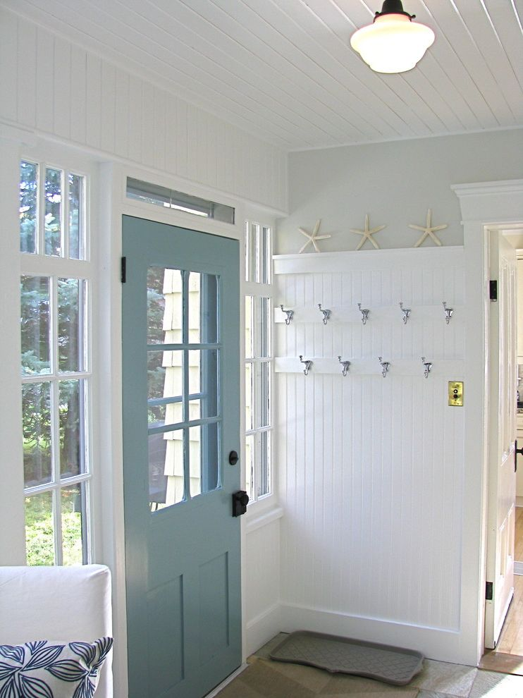 Movies in Boca Raton   Traditional Laundry Room  and Blue Back Door Coat Hooks Mudroom Mullion Windows Nantucket Style Porch White Beadboard