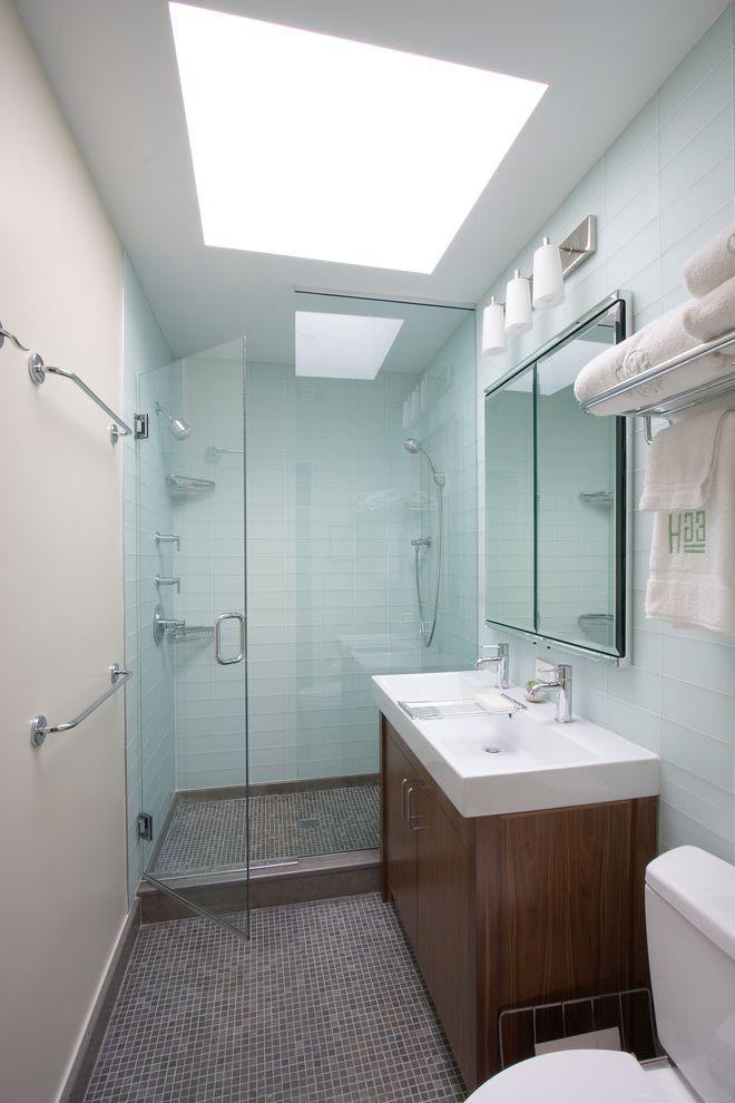 Mr Shower Door   Contemporary Bathroom Also Double Sink Glass Shower Glass Tile Gray Medecine Cabinet Sconces Sky Light Skylight Tile Towel Rods Train Rack Vanity