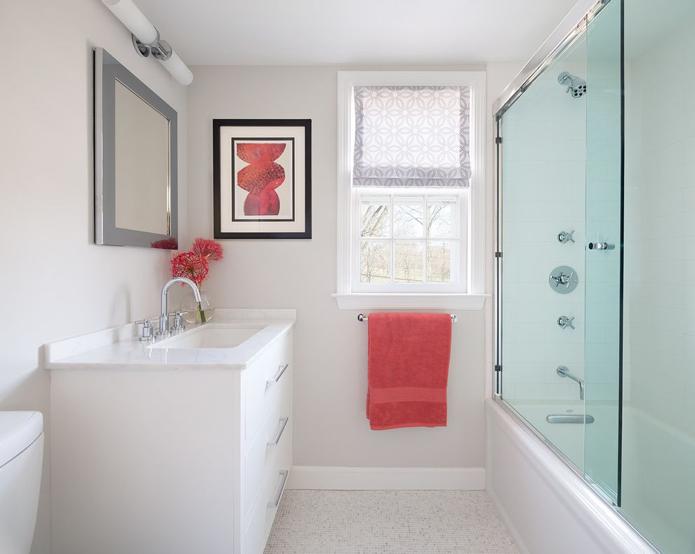 Mr Shower Door   Transitional Bathroom  and Floral Curtains Glass Shower Pop of Color Red Accents Silver Mirror Frame Sliding Glass Door White Bathroom