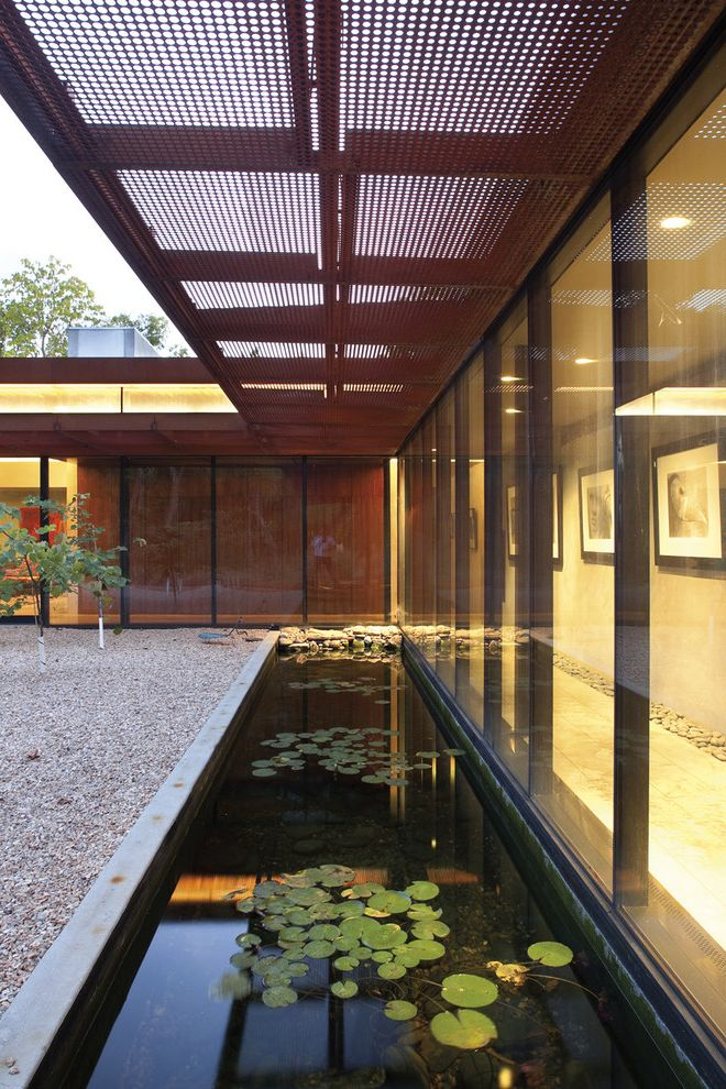 Msm Sheet Metal   Contemporary Landscape  and Angular Flat Roof Glass Wall Landscaping Lily Pond Metal Screen