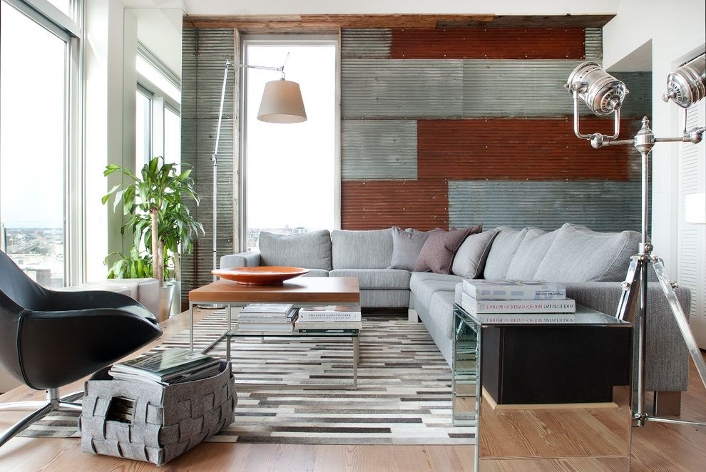 Msm Sheet Metal   Contemporary Living Room Also Area Rug Bright Contemporary Corrugated Steel Living Room Mirrored End Table Philadelphia Rusted Galvanized Steel Wood Floor