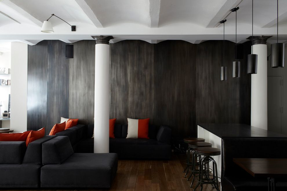 Msm Sheet Metal with Contemporary Spaces Also Barrel Vaulted Ceiling Black and White Black Couch Black Pendant Lights Black Sofa Black White Columns Metal Metal Wall Red and White Pillows Sectional Couch Sectional Sofa