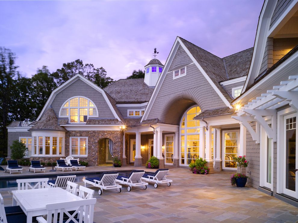 Multigenerational Homes   Victorian Exterior Also Arches Columns Cupola Gambrel Gable Outdoor Dining Pattern Tile Walkway Pool Shake Shingle Stacked Stone Wall Turret White Patio Furniture White Window Trim