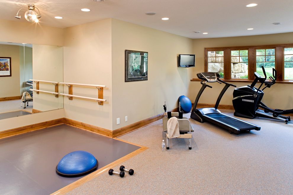 My Gym Cherry Hill with Traditional Home Gym  and Ballet Bar Carpet Disco Ball Elliptical Fitness Room Free Weights Home Gym Indoor Gym Large Window Oversized Window Ribbon Windows Sports Treadmill Wall Mounted Tv