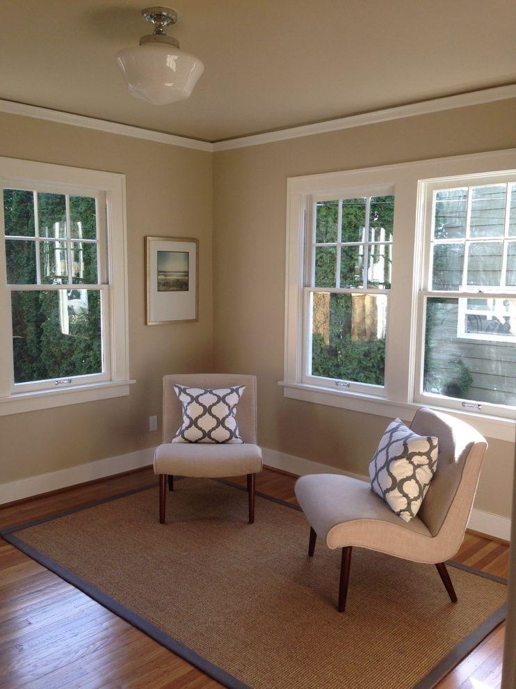 Nailing Hardwood Floors   Traditional Home Office  and Original Windows Refinished Oak Top Nail Hardwood Floor Schoolhouse Light Fixture