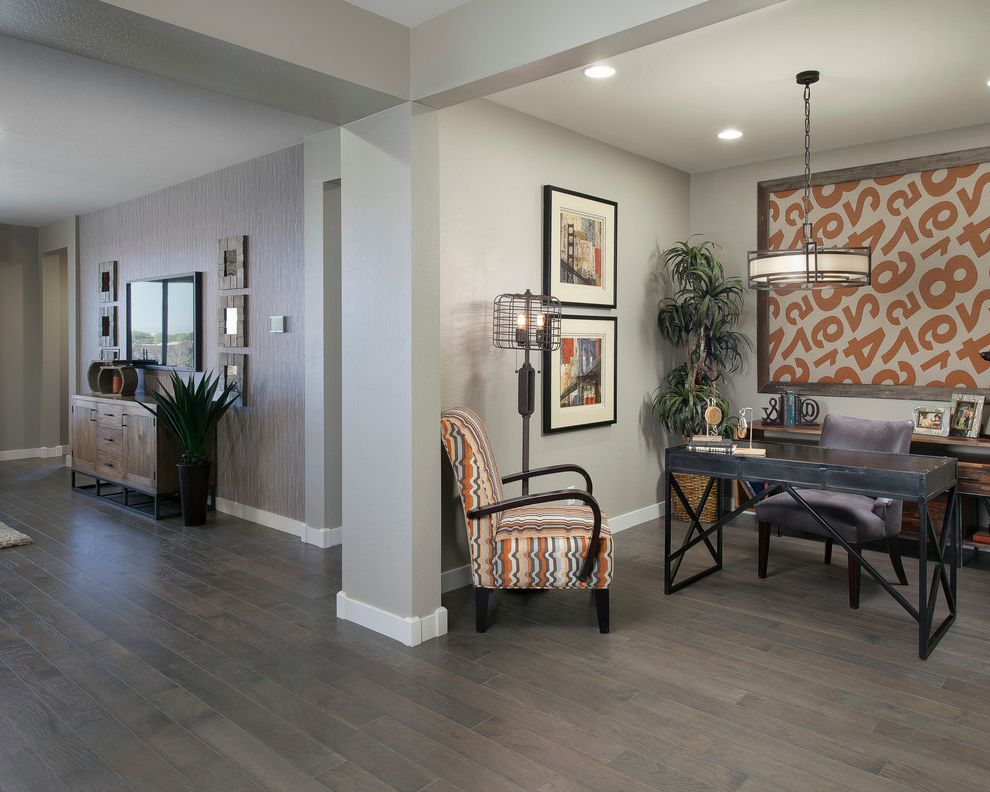 Nailing Hardwood Floors with Transitional Home Office Also Accent Wall Alcove Armchairs Cage Lamp Console Desk Floor Lamp Framed Art Gray Wall Hardwood Floor Nook Open Concept Pendant Light Recessed Lighting Wall Art
