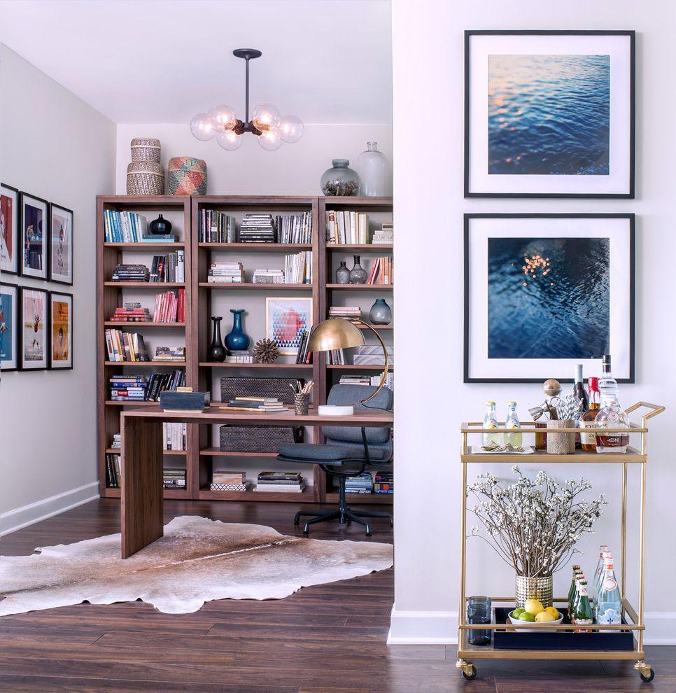 Narrow Bar Cart   Contemporary Home Office Also Animal Skin Rug Bar Cart Brass Lamp Gallery Wall Globe Light Vases Water Art