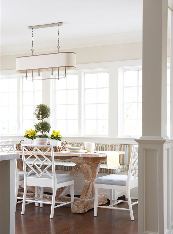 Narrow Farmhouse Table with Beach Style Dining Room  and Bamboo Bench Breakfast Chandelier French Windows Marble Nook Rustic Stripe White